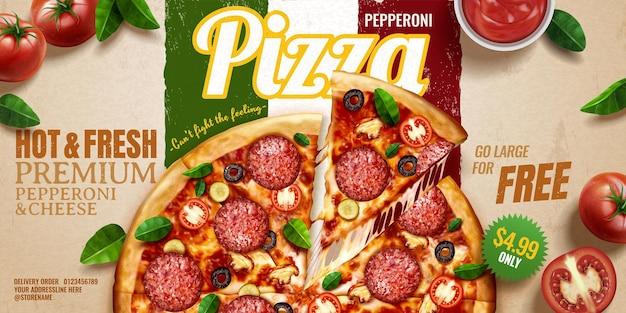 Pepperoni pizza banner advertenties op kraftpapier italiaanse vlag achtergrond met tomaten en basilicum bladeren, 3d illustratie bovenaanzicht perspectief