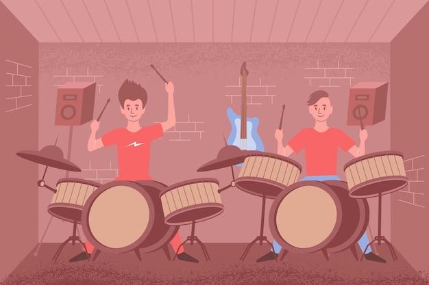 Percussie platte compositie leren met binnenlandschap en twee drumsets met spelende mensen en luidsprekersillustratie