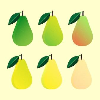 Peren fruit vector instellen in platte ontwerp