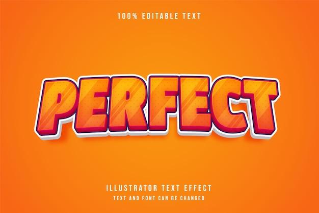 Perfect, 3d bewerkbaar teksteffect gele gradatie oranjerode komische stijl