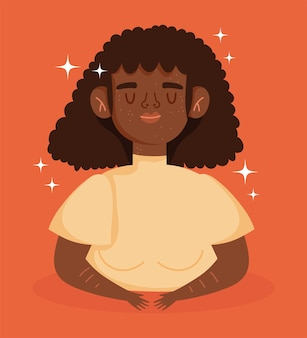 Perfect onvolmaakt, cartoon afro-amerikaanse vrouw met de ziekte van vitiligo
