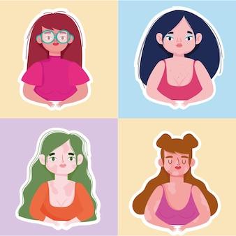 Perfect onvolmaakt, stel diverse vrouwelijke karakters illustratie in