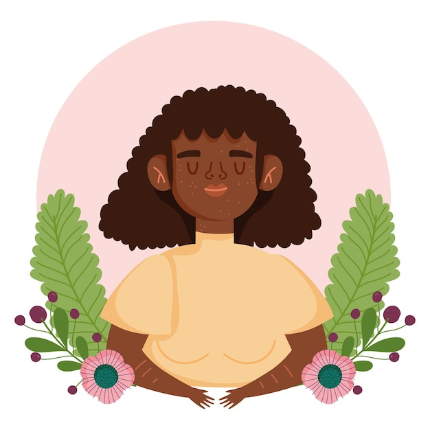 Perfect onvolmaakte afro-amerikaanse vrouw met sproeten bloemen cartoon karakter illustratie