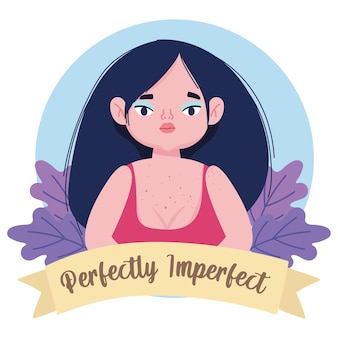Perfect onvolmaakte mollige vrouw bloemen cartoon karakter illustratie