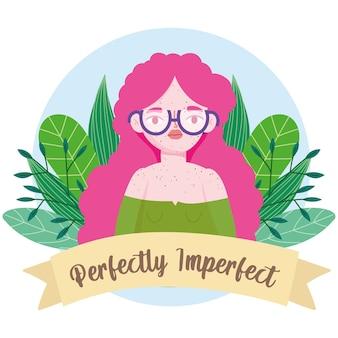Perfect onvolmaakte vrouw met sproeten en bloemen cartoon portret illustratie