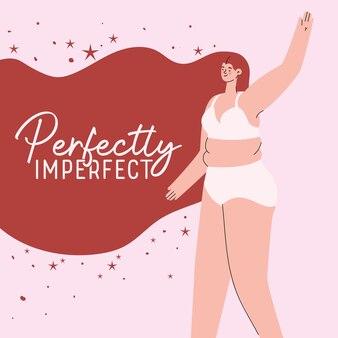 Perfect onvolmaakte vrouwencartoon met grote maten in ondergoed met rood haarontwerp, thema love and care yourself