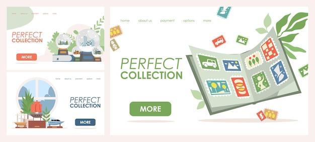 Perfecte collectie vector platte bestemmingspagina sjablonen postzegels glas