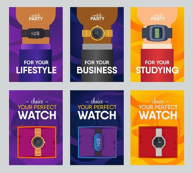 Perfecte horloge banner ontwerpset. horloges in dozen en op menselijke pols vectorillustratie.