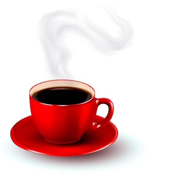Perfecte rode kop koffie met stoom. koffie ontwerpsjabloon.