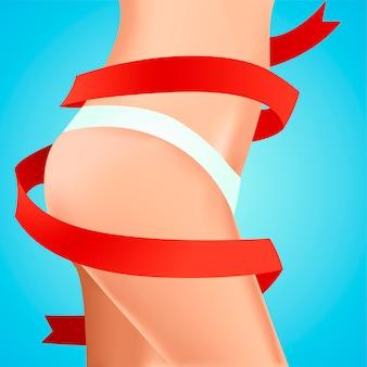 Perfecte vrouwelijke heupen. werk aan het lichaam. resultaat met rood lint.