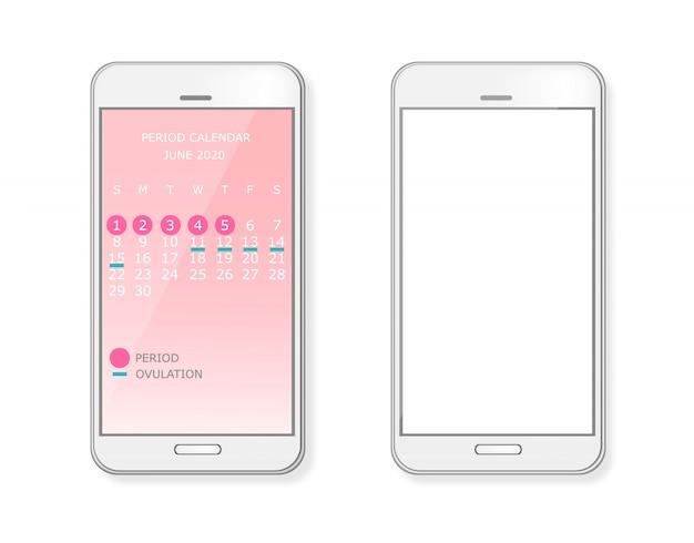 Periode en ovulatiekalender op smartphonescherm