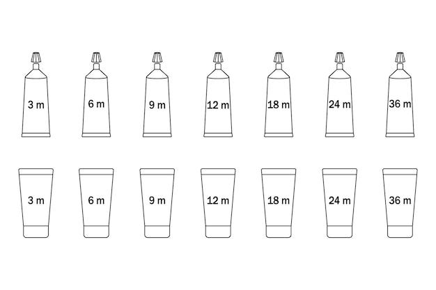 Periode na opening buis voor verpakkingsontwerp geïsoleerd op een witte achtergrond. open vak cosmetische pictogram.