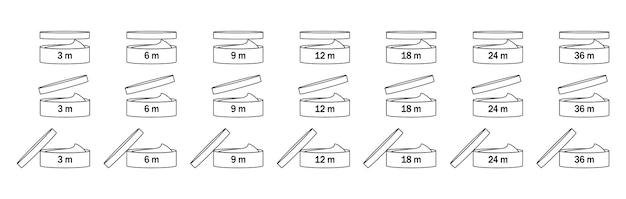 Periode na opening voor verpakkingsontwerp dat op witte achtergrond wordt geïsoleerd. open vak pictogram.