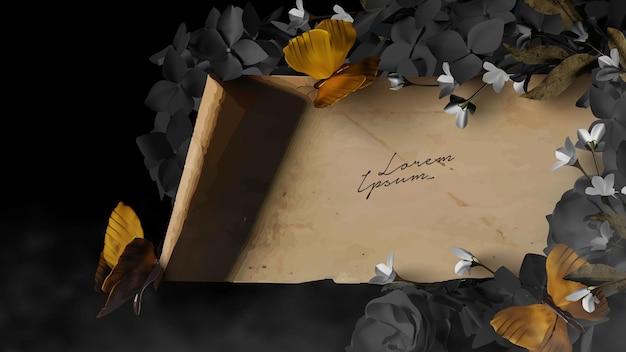 Perkamentrol sjabloon met prachtige bloemen en vlinder