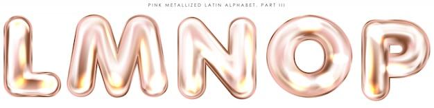 Perl roze folie opgeblazen alfabet symbolen, geïsoleerde letters lmnop