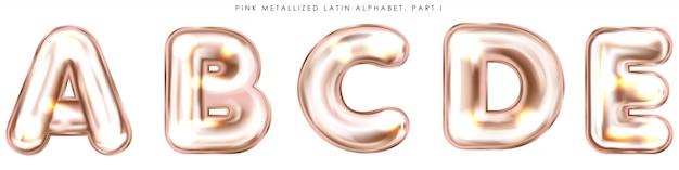 Perl roze folie opgeblazen alfabetsymbolen, geïsoleerde letters abcde