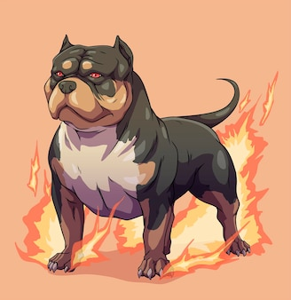 Perro american bully pitbull de fuego