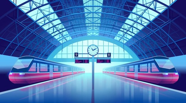 Perron van het station met moderne hogesnelheidstreinen en een klok.