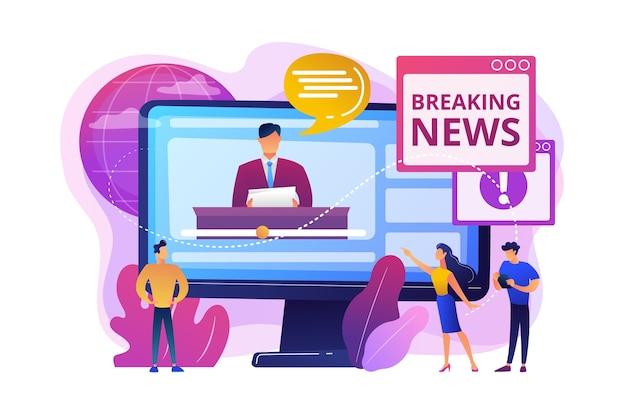 Pers, massamedia, omroepstudio. journalisten, karakters van verslaggevers. hete online informatie, het laatste nieuws, het concept van de nieuwsinhoud.