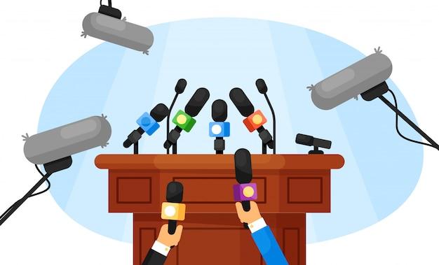 Persconferentie. lege tribune
