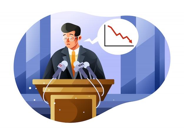 Persconferentie over de economische crisis