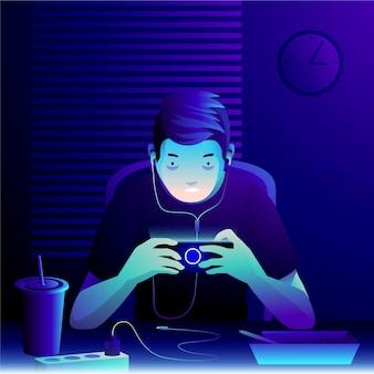 Personage speelt mobiele games midden in de nacht
