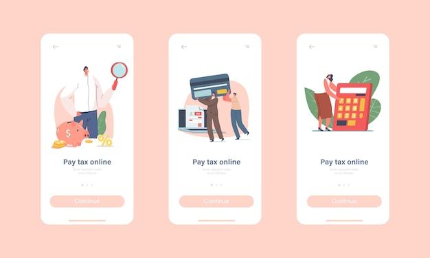 Personages betalen belasting online mobiele app-pagina onboard-schermsjabloon
