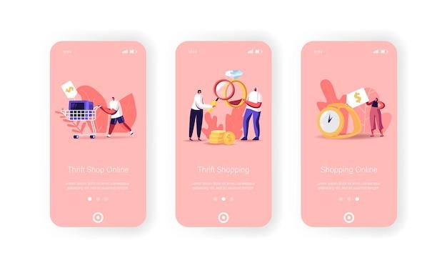 Personages brengen sieraden en techniekschroot naar pion of kringloopwinkel mobiele app-pagina onboard-schermsjabloon