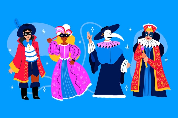 Personages die carnavalskostuum dragen, omringd door confetti