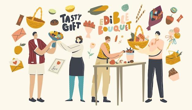 Personages die eetbare boeketten maken en geven voor de feestdagen. mensen maken smakelijke cadeaus voor verjaardag, valentijnsdag of kerstviering, ongebruikelijke zoete cadeauservice. lineaire vectorillustratie
