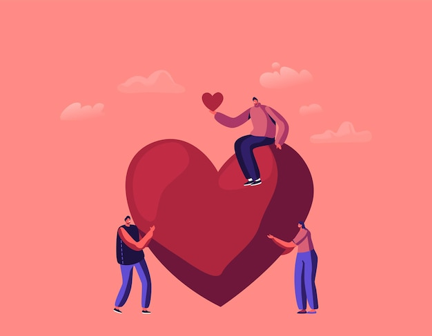 Personages doneren illustratie tiny men and woman give hearts