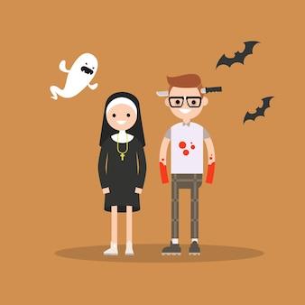 Personages dragen feestelijke kostuums voor halloween