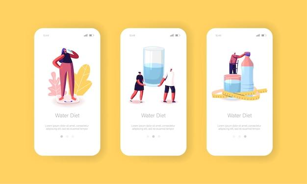 Personages drinken water op mobiele app-pagina voor dieet aan boord van schermsjabloon
