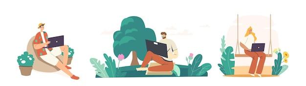 Personages freelance buiten werk, zelfstandige concept. man of vrouw freelancers zitten in stadspark of tuin werken op afstand op laptop. creatieve zzp'ers. cartoon vectorillustratie