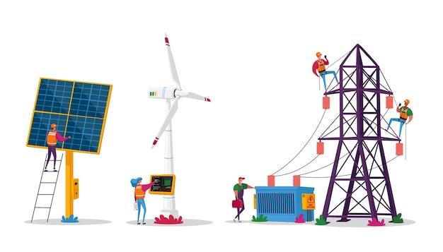 Personages gebruiken duurzame energie