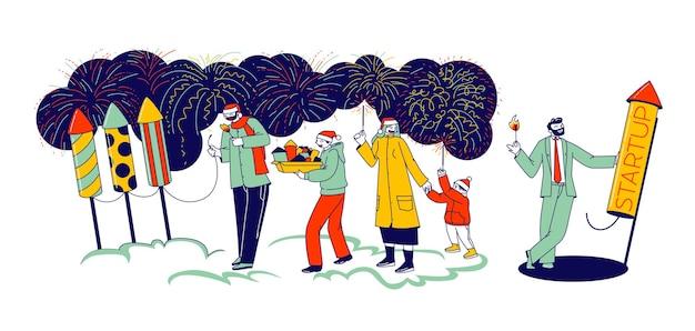 Personages genieten van vuurwerkshow. gelukkige familie moeder, vader en kinderen met brandende wonderkaarsen, zakenman lanceren start project rocket. feestelijk vuurwerk. lineaire mensen vectorillustratie
