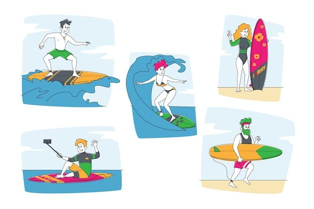 Personages in badkleding die op surfplanken rijden door huge ocean waves