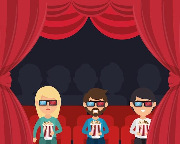 Personages kijken naar 3d filmcinema