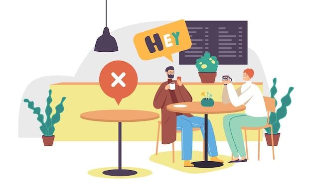 Personages koppel ontmoeten elkaar in café of restaurant bij uitbraak van coronavirus zittend aan bureau met lege tafel in de buurt. sociale afstand en het nieuwe normaal na de covid-pandemie. cartoon vectorillustratie