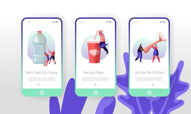 Personages met behulp van plastic dingen concept mobiele app-pagina onboard-schermset