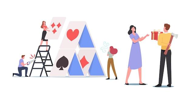 Personages met slechte bedoelingen zagen een ladder om het kaartenhuis te doorbreken. stiekeme onoprechte man met bijl die geschenkdoos geeft aan vrouw die zijn ware gevoelens verbergt. cartoon mensen vectorillustratie