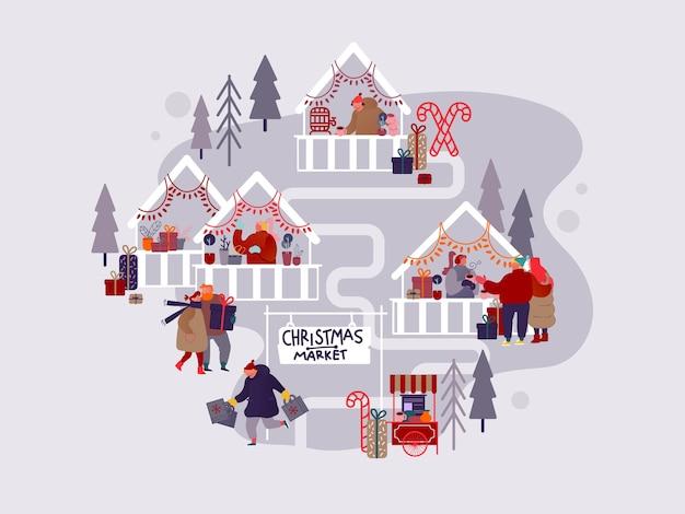 Personages met vakantiescènes op kerstmarkt of buitenbeurs op stadsplein. man en vrouw winkelen, cadeautjes kopen, snacks kopen en glühwein drinken.