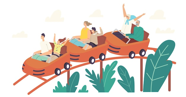 Personages rijden achtbaan in pretpark. opgewonden jonge en oudere mannen, vrouwen en kinderen bij rollercoaster cars. weekendrecreatie, extreme, familierecreatie. cartoon mensen vectorillustratie
