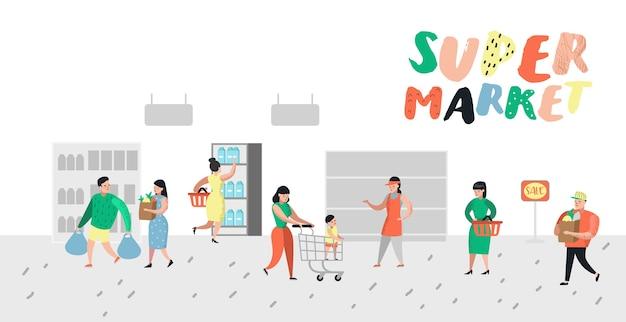 Personages winkelen in de supermarkt met tassen en karren poster