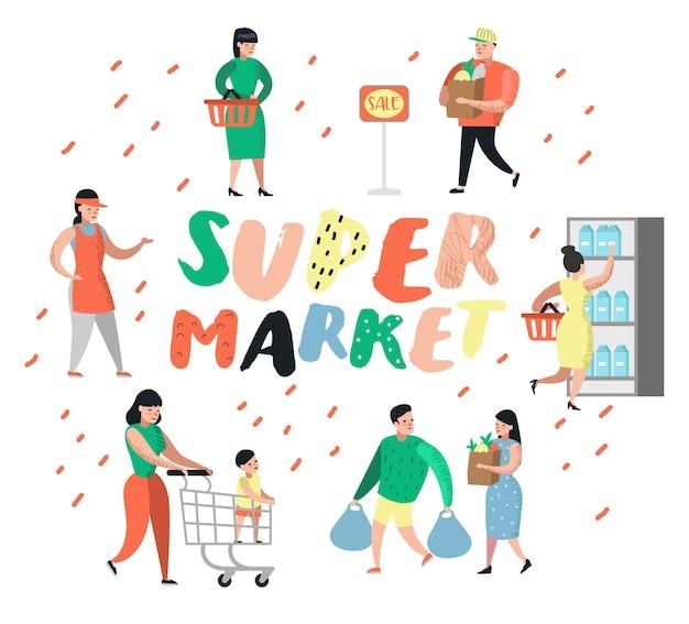 Personages winkelen in de supermarkt met tassen en karren
