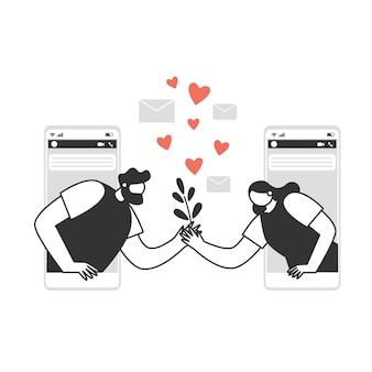 Personages wisselen liefdesberichten uit aan de telefoon, in een chat. paar verliefd stripfiguren mensen. valentijnsdag. liefde en romantiek concept.