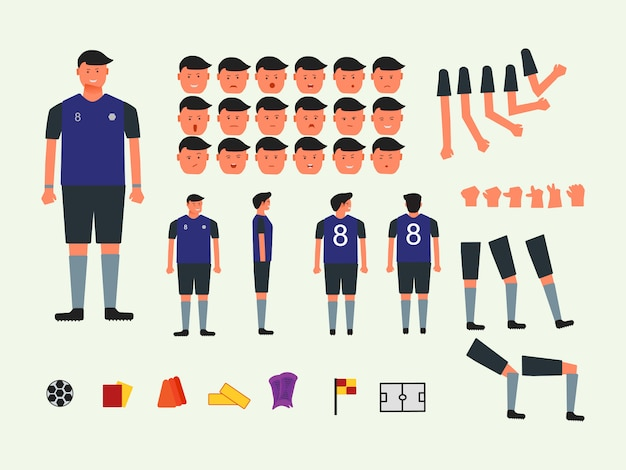 Personageset voetbal football-speler
