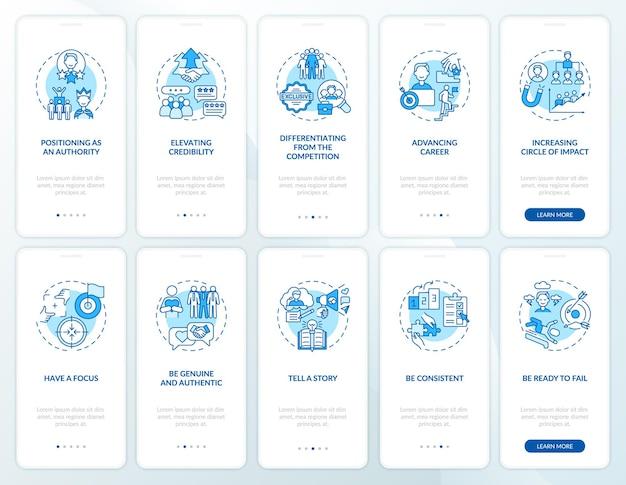 Personal branding blauw onboarding mobiel app-paginascherm met concepten set