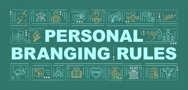 Personal branding regels woord concepten banner