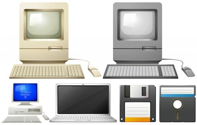 Personal computer met monitors en toetsenborden